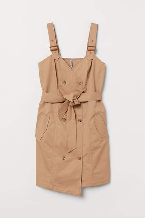 H&M+ Cotton Bib Overall Dress - Beige