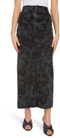 Floral Print Denim Skirt