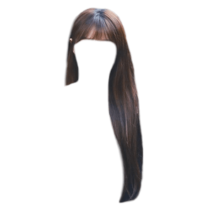 Long Brown Hair Bangs PNG