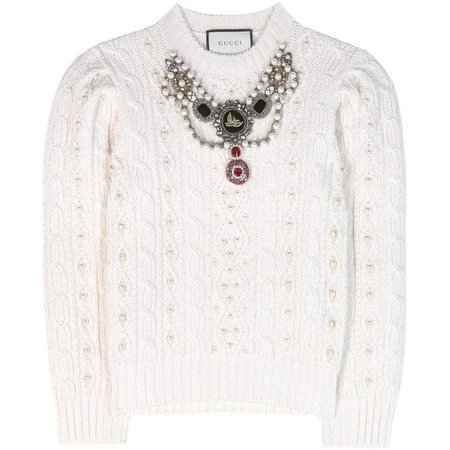 GUCCI Embellished Wool and Cashmere Sweater