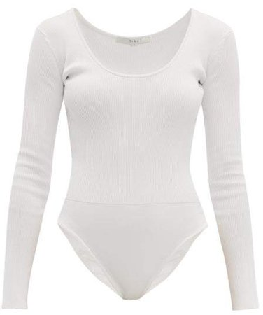 Scoop Neck Ribbed Jersey Bodysuit - Womens - Ivory