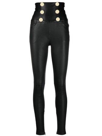 Balmain high-waist lambskin trousers black VF15887L067 - Farfetch