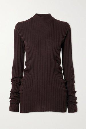 Brown Ribbed-knit sweater | Bottega Veneta | NET-A-PORTER