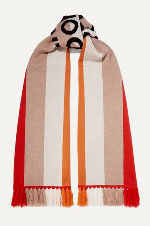 Red Fringed intarsia cashmere scarf | Burberry | NET-A-PORTER