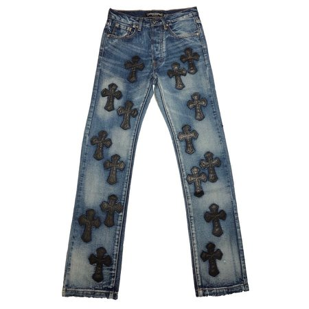 La Archives sur Instagram: Chrome Hearts Leather Cross Patch Denim Size 28 Waist: 28 inches Inseam: 31 inches 8/10 condition Price $700
