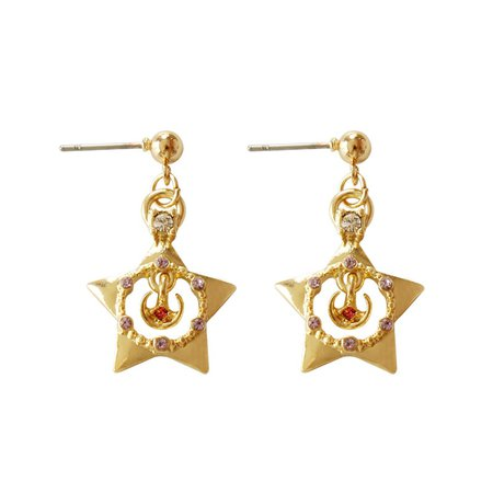 Gold Color Red Rhinestone Templar Earrings Sailor Moon Venus Cyber Hollow five pointed star Drop Earrings For Women Girls Gitfs|Drop Earrings| | - AliExpress