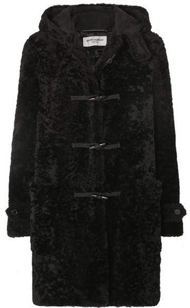 Hooded Shearling Coat - Black