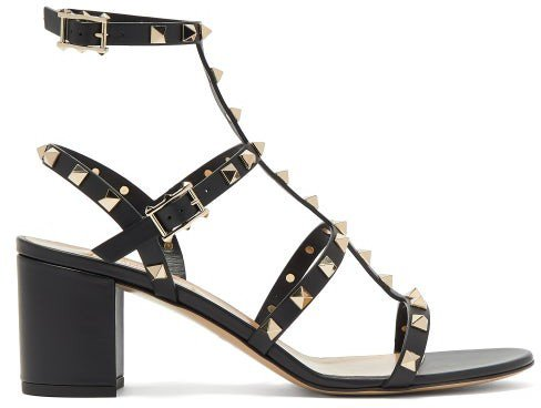 Rockstud Block-heel Leather Sandals - Black