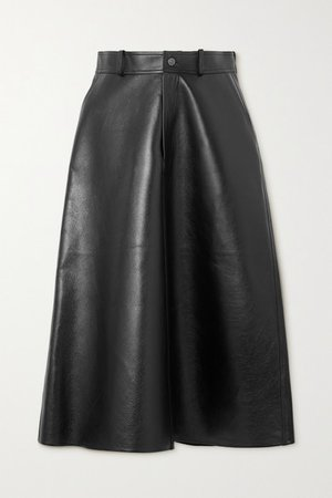 Leather Midi Skirt - Black