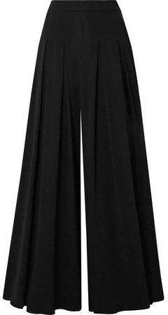 Pleated Stretch-crepe Wide-leg Pants - Black