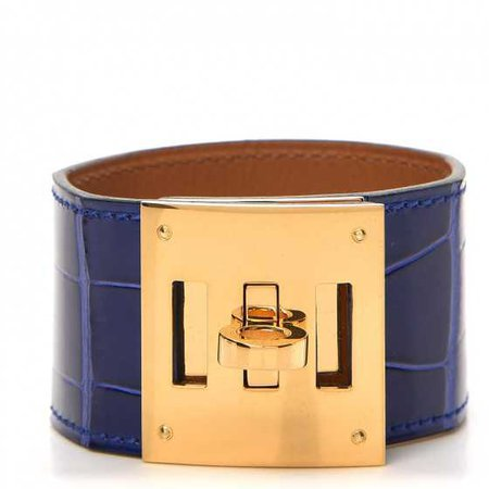 HERMES Shiny Alligator Kelly Dog Cuff Bracelet Bleu Electrique 248020