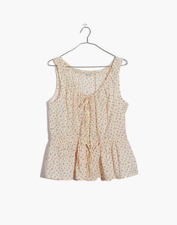 Shirred Drawstring Tank Top in Bright Buds ivory