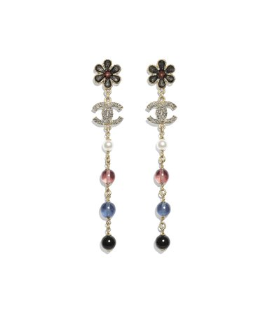 Earrings, metal, glass pearls & strass, gold, pearly white, crystal, navy blue & burgundy - CHANEL