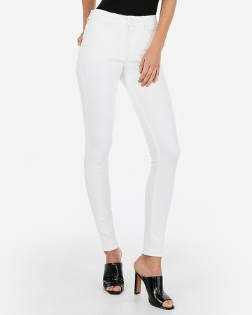 High Waisted Denim Perfect White Skinny Jeans