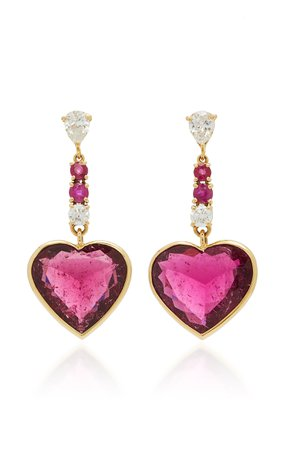 18K Gold, Diamond, Rubellite and Ruby Earrings by Yi Collection | Moda Operandi
