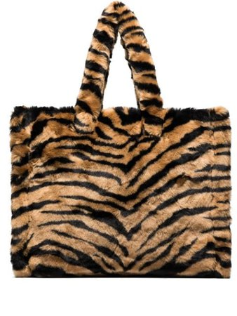 STAND STUDIO Lola tiger-stripe Faux Fur Tote Bag - Farfetch