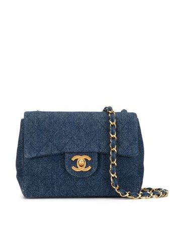 Blue Chanel Pre-Owned 1990s diamond quilted denim shoulder bag 1712441 - Farfetch
