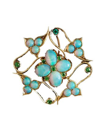 opal flower brooch