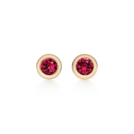 Elsa Peretti® Color by the Yard earrings in 18k gold with rubies. | Tiffany & Co.