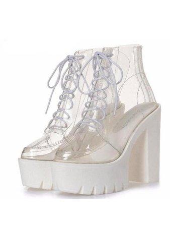 Clear white platform heel combat boots