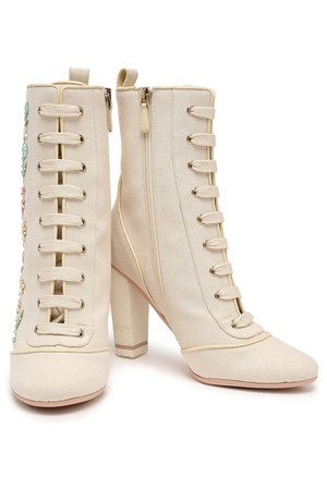 Red Valentino Ecru Embellished canvas ankle boots