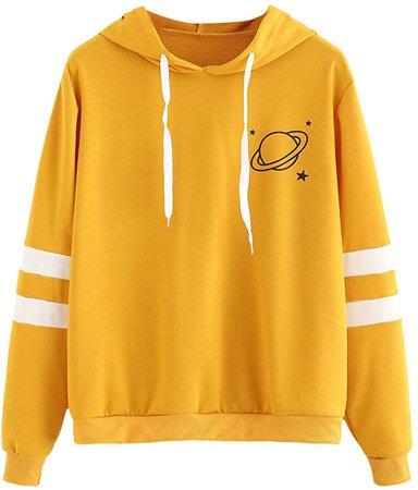 SweatyRocks Women's Planet Print Varsity Striped Drawstring Pullover Sweatshirt Hoodies Tops Yellow M at Amazon Women's Clothing store