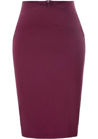 smooth maroon pencil skirt