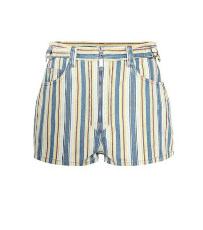 High-rise striped denim shorts