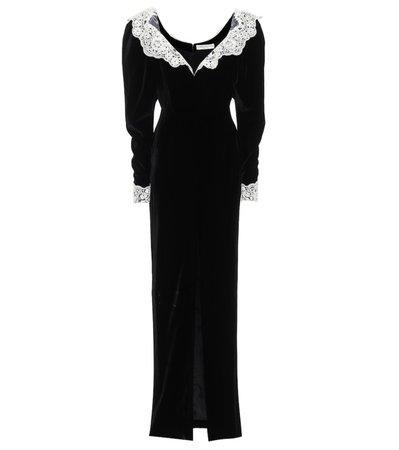 ALESSANDRA RICH Lace-trimmed Sequin-embellished Velvet Gown In Black