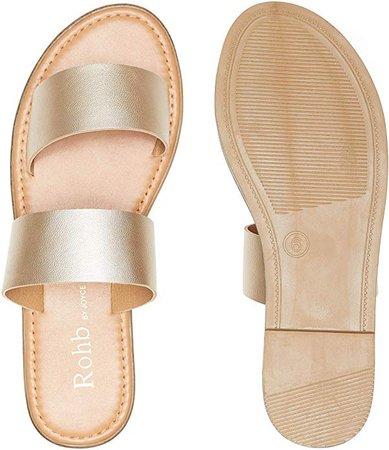 Amazon.com | Rohb by Joyce Azria Casablanca Sandal (Gold PU Metallic Leather) Size 9 | Slides