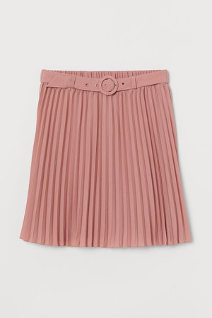 Belted Pleated Skirt - Pink