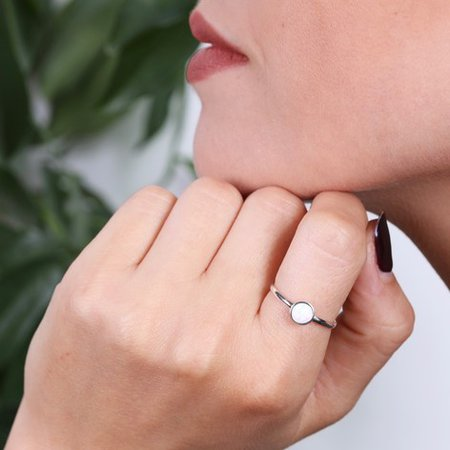 Sterling Silver and Round Opal Ring | Lisa Angel