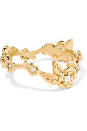 Meadowlark | Alba Vine gold-plated diamond ring | NET-A-PORTER.COM