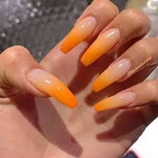 orange long nails - Google Search