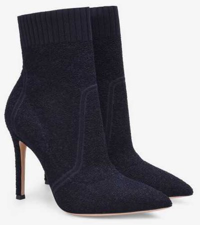 gianvito rossi fiona boot boots black sock heel heels heeled pointed toe ankle shoes shoe