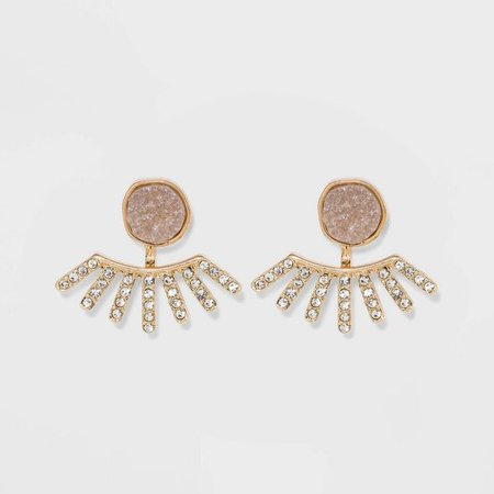SUGARFIX By BaubleBar Crystal Ear Jackets With Druzy - Light Gray : Target