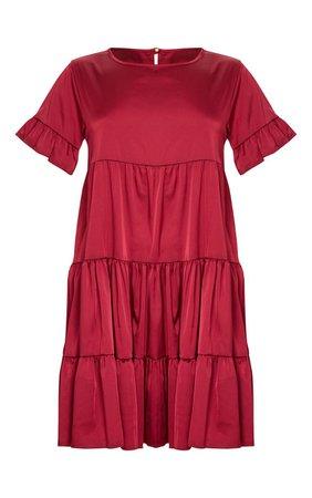 Burgundy Frill Sleeve Tiered Smock Dress | PrettyLittleThing USA