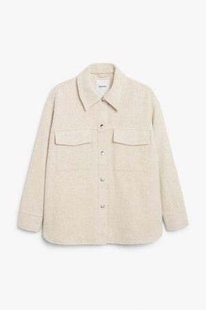 Wool blend shacket - Cream - Jackets - Monki WW