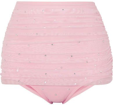 Bill Embellished Stretch-tulle Bikini Briefs - Pastel pink