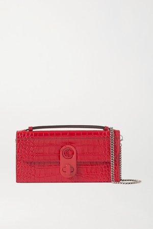 Elisa Croc-effect Leather Shoulder Bag - Red