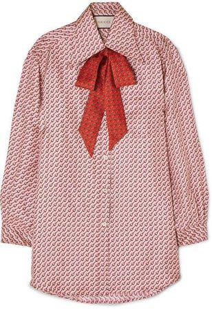 Pussy-bow Printed Silk-twill Shirt - Blush