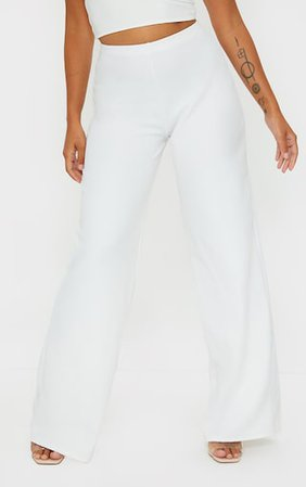 Petite White Wide Leg Trousers   PrettyLittleThing