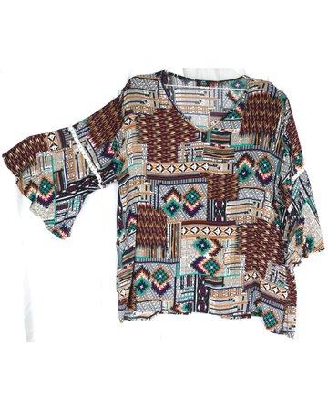 Blusa escote V multicolor