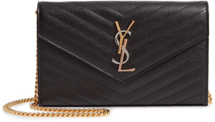 Monogram Pebbled Leather Wallet on a Chain