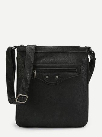 Zipper Front PU Shoulder bag