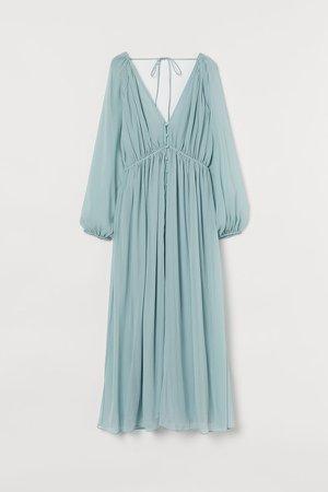 Long Chiffon Dress - Turquoise