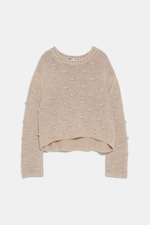 Knit Sweater With Pompoms | ZARA