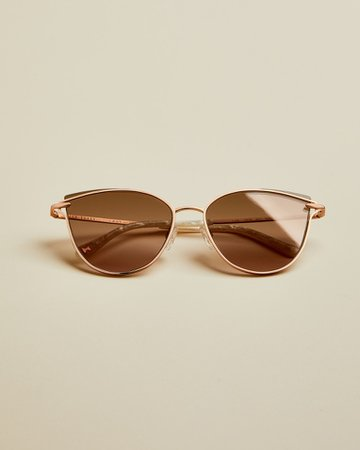 Metal cat eye sunglasses - Rose Gold | Sunglasses | Ted Baker UK
