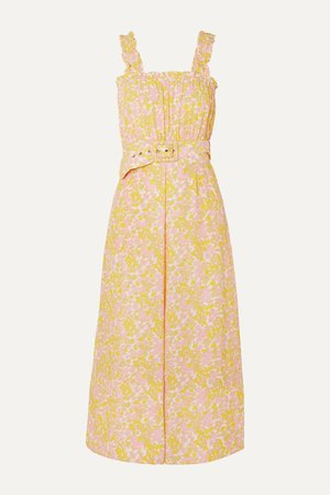 Pastel yellow Dolores belted floral-print crepe jumpsuit | Faithfull The Brand | NET-A-PORTER