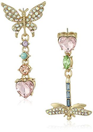 Betsey Johnson Pave Butterfly and Dragonfly Mismatch Drop Earrings: Clothing
